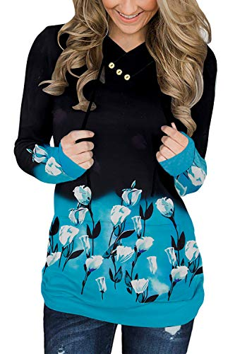 KISSMODA Damen Langarm Sweatshirt Cowl Neck Casual Tops Krawatte Schwarz Blau Floral Klein