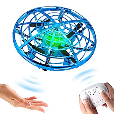 BOMPOW Drone for Kids Flying Ball Drone Toys for Boys and Girls, Two Modes with Hand Control or Remote Control, UFO Drones for Kids with LED Light and 360° Rotating, Blue