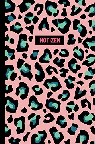 Notizen: Notizbuch Pink Leopard | ca. DIN A5 (6x9), liniert, 108 Seiten, Animal Print | für Notizen, Termine und Skizzen - Ideal als Organizer, Kalender, Semesterplaner, Journal