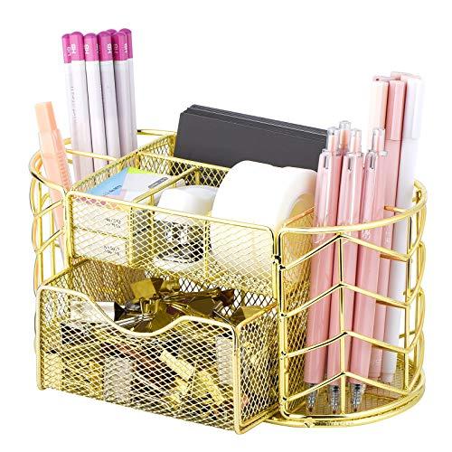POPRUN Kinder Stiftehalter Metall, Schreibtisch Organizer Netz, Utensilienschalen mit Stifteköcher und Schublade, Tischorganizer für Schule und Büro Gold