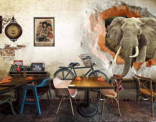 muurschildering muur Muralscustom behang op maat behang nostalgische oude muur olifant 3D tv achtergrond huis meubels woonkamer slaapkamer muurschildering 3D behang 400 * 280cm