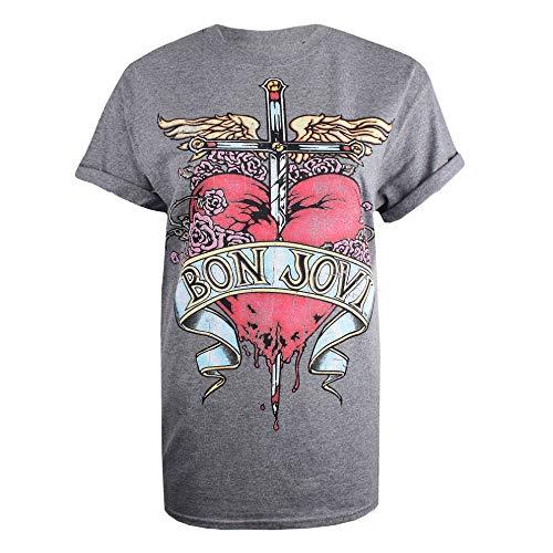 Bon Jovi Heart Tattoo Camiseta, Gris (Graphite Heather Grh), 44 (Talla del Fabricante: X-Large) para Mujer
