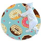 Alfombra redonda de Donuts de colores bonitos, antideslizante lavable a máquina, ultra suave para el interior del sofá, sala de estar, círculo para dormitorio, sala de juegos