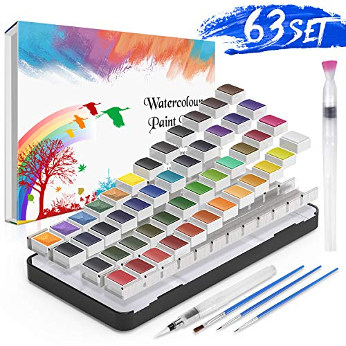 Caja de Acuarelas,RATEL Set de Pintura de Acuarelas Incluye 48 colores Pigmento sólido + 3 Brocha + 2 Pinceles para tanque de agua + 10 Papeles de acuarela,Colores de Acuarela conjunto