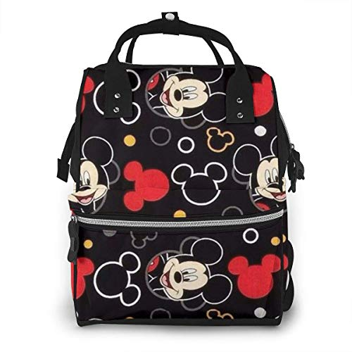 Diaper Bag Backpack - Mickey Head Multifunction Waterproof Travel Backpack Maternity Nappy Changing Bags