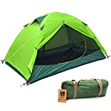 Weanas 2 Person 3 Season Ultralight Silicone Coating Backpacking Tent Double Layer Weatherproof Waterproof Aluminum Rod Anti-UV for Outdoor Camping Hiking Travel Hunting Beach (Green)