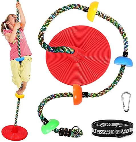 Odoland Schaukel Kinder mit Plattform Trapeze Kinderschaukel idea für Garten Indoor Outdoor Hinterhofspielplatz Baum Hängendes Kletterseil Rot