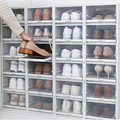 3 cajas apilables transparentes para zapatos, cajón, cajón, cajón, armario organizador, con puerta transparente