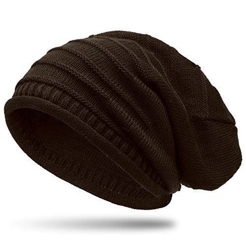 Caspar MU079 Bonnet en tricot classique unisexe, Couleur:marron foncé