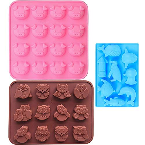 IHUIXINHE Food Grade Silikon Tier Silikon Form, Piggy Eule Delphin EIS Würfel Schimmel, Schokolade Schimmel, Süßigkeiten Schimmel, Cupcake Backform, Muffin Pfanne, 3 Pack Set (Tier)