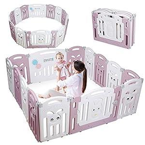 CRZDEAL Parque Infantil Bebé con 14 Paneles Plegable, Corralito Bebé, con Base Antideslizante / Puerta de Plástico Expandible / Valla de Seguridad Plegable, Adecuado para Bebés de 6 a 36 Meses
