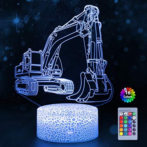 Bagger 3D Lampe LED Optische Täuschung Nachtlicht für Kinder Kinderzimmer Schlafzimmer, 7 Farbwechsel Nachttischleuchten Geburtstagsgeschenk Spielzeug für Jungen