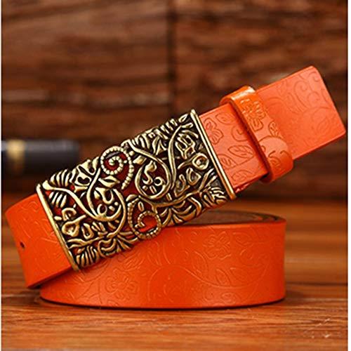 beizi Cinturón para mujer con hebilla de metal, correa de lujo para mujer (longitud del cinturón: 120 cm, color: WH04)