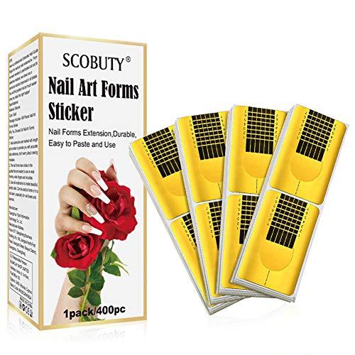 Schablonen für Nagel, Nagel Schablonen, Modellier-Schablone selbstklebend für Gel-Nägel & Nagel-Verlängerung Golden Schablonen, für die künstliche Fingernagel Modellage, 400 Stück