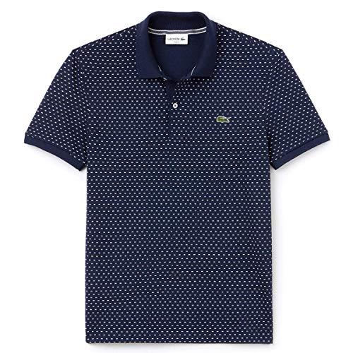 Lacoste Herren Slim Fit Print Mini Pique Polo-Hemd - Blau/Flour - Size 5 - L