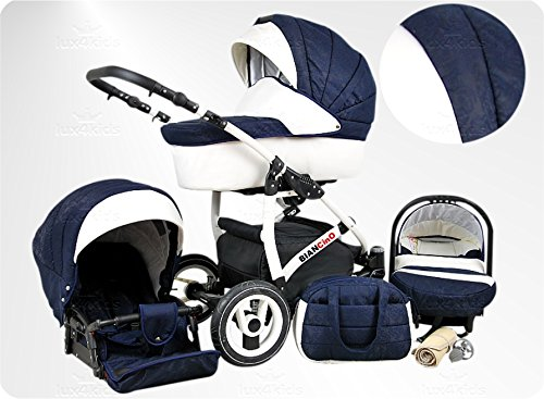 Lux4Kids BIANCinO Kinderwagen Komplettset (Autositz & Adapter, Regenschutz, Moskitonetz, Schwenkräder) 06 Eco Leather White & Marine