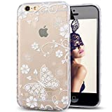 iPhone SE Case,iPhone 5S Case,NSSTAR Scratch-Proof Ultra Thin Crystal Clear Rubber Gel TPU Soft Silicone Bumper Case with Shockproof Protective for iPhone SE 2016 & iPhone 5S 5,White Butterfly Flower