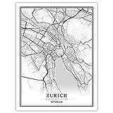 Schweiz Schwarz Weiß Welt Stadtplan Poster Nordischen