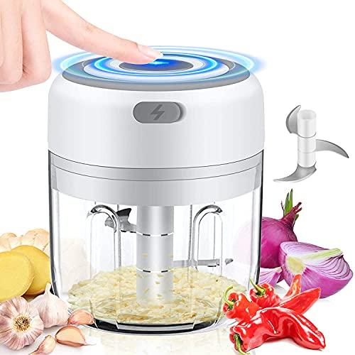 UMYMAYDO1 Mini Hachoir Electrique, 250ML Mini Mixeur bebe Portable avec 3 Lames, Mini Robot culinaire, Coupe oignon electrique, Pour Oignon/Fruit/Aliments Pour Bebes/Presse Purée (250ml)