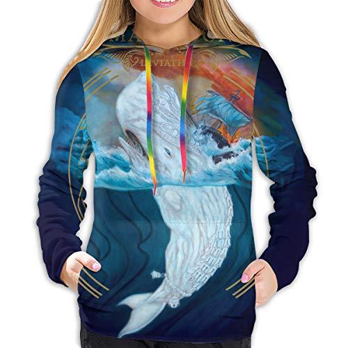 Mastodon Leviathan Hoodie Women's Long Sleeves Sport Hooded Sweatshirt 3D Printed Comfort Pullover Black