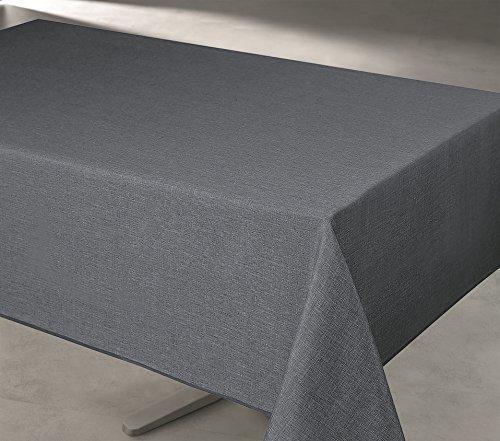 UNIVERS-DECOR Nappe rectangulaire Unie et imprimée 140 x 240 cm antitaches (Nappe Rectangle 140 x 240 cm, Anthracite)