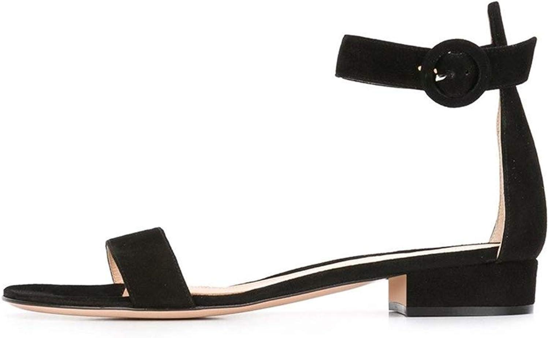 Soireelady Women's Low Heels Sandals Ankle Strap 2CM Open Toe Sandals Summer Classic Flats