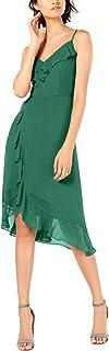 KENSIE Womens Green Ruffled Zippered Solid Spaghetti Strap Midi Faux Wrap Dress AU Size:12