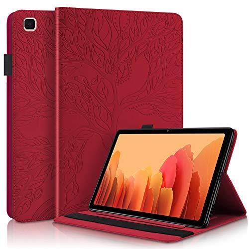 Succtop Hülle für Galaxy Tab A7 10,4 Zoll 2020, Folio Flip PU Leder Schutzhülle Galaxy Tab A7 Stifthalter Stand Wallet Cover Hülle Tablet Hülle Samsung Galaxy Tab A7 T500/T505/T507, Rot