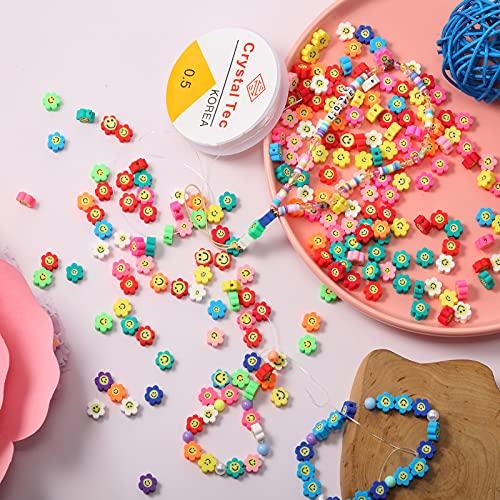 240 Piezas Cuentas Mixtas de Cara Girasol Cuentas Espaciadoras Coloridas de Arcilla Polimérica de 10 mm Cuentas de Cara Feliz con Cordones Elásticos de Cristal para DIY Joyería Pulsera