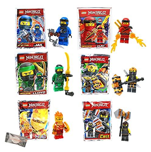★ Lego® Ninjago Legacy Minifiguren - Set aus 6 Figuren - Lloyd Kai Jay Cole + 1 stickermarkt24de Gum
