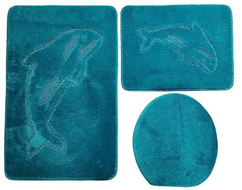 Ilkadim Delphin Badgarnitur 3 TLG. Set 55x85 cm einfarbig, WC Vorleger ohne Ausschnitt für Hänge-WC (Petrol hell)