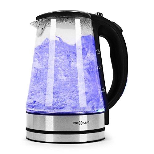 oneConcept - Blue Lagoon, Wasserkocher, Bauhaus Design Teekocher, 1,7 Liter, 2200 Watt, kabellos, blaue LED-Beleuchtung, Cool-Touch-Griff, Basisstation mit Kabelaufwicklung, schwarz-silber