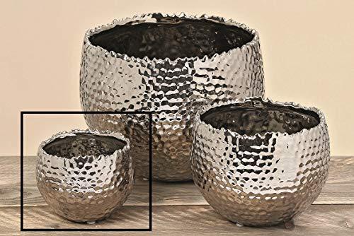 Meinposten. Blumentopf Übertopf Keramik Silber Pflanztopf Hammerschlag Pflanzentopf Dekotopf (Klein, Höhe 10 cm)