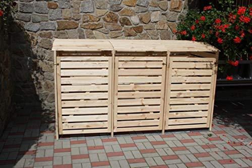 Promadino Mülltonnenbox Vario III für 3 Tonnen, Natur
