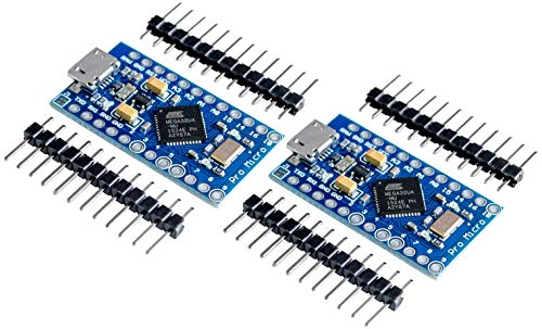 TECNOIOT 2pcs Pro Micro ATmega32U4 5 V/16MHz Module with Pin Header for arduino Leonardo