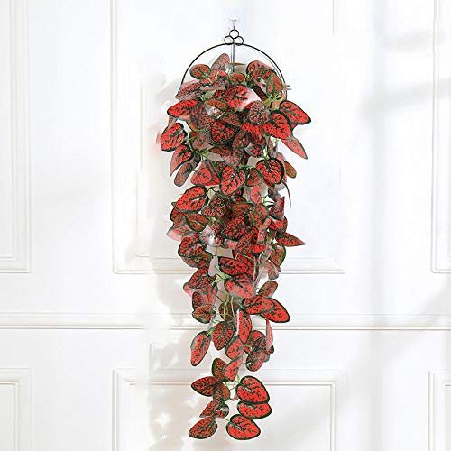 Artificial Flower Artificial Red Hanging Plants 1Pcs Greenery Leaf Silk Fake Plant Decor Jungle Party Artificials Para Decoration 38 Inches