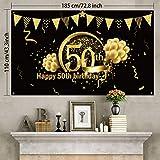 50. Geburtstag Party Dekoration, Extra Große Stoff Schild Poster zum 50. Jahrestag Foto Stand Hintergrund Banner, 50. Geburtstag Party Lieferunge (Schwarz Gold) - 2