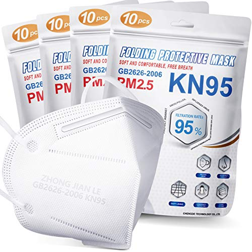 KN95 Face Mask 40 PCs, Included on FDA EUA List, Filter Efficiency≥95%, 5 Layers Cup Dust Mask, Masks Against PM2.5 from Fire Smoke, Dust, for Men, Women, Essential Workers(White)