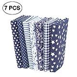 7 piezas de telas de algodón paquete de tela 50x50cm para patchwork costura DIY Sin diseño repetido flores impresas (azul)