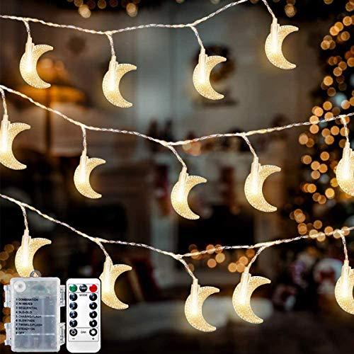 Ramadan Moon String Lights,33ft 80 LED Moon Fairy Lights Battery Operated Decorative Lighting for Window,Fireplace,Garden, Outdoor Indoor,for Ramadan Decoration