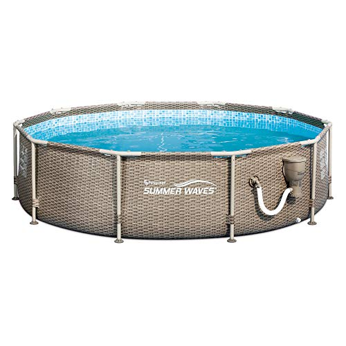 Summer Waves P20010305 10ft x 30in Frame Above Ground Swimming Pool with Exterior Wicker Print in Tan with SFS350 Skimmer and Filter Pump
