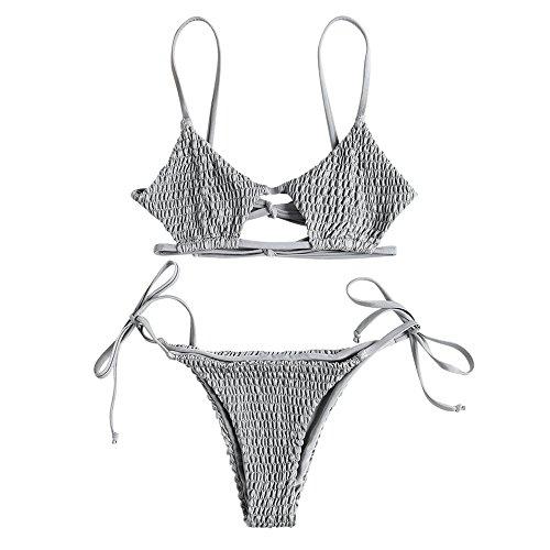ZAFUL Women's Smocked Bikini Sexy Keyhole Shirred Spaghetti Strap Thong Cheeky Bathing Suits Light Gray M