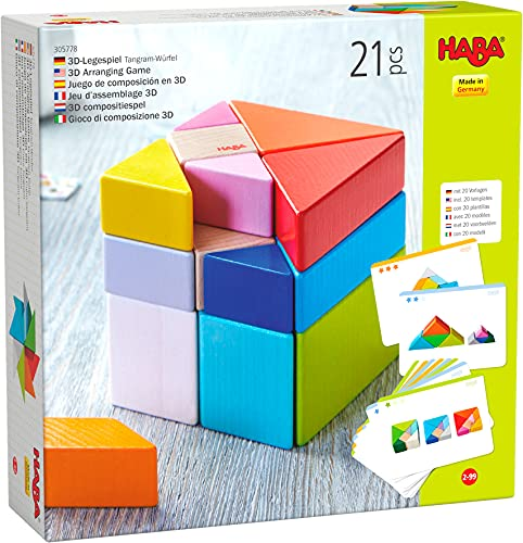 HABA 305778 - 3D-Legespiel Tangram-Würfel, Legespiel ab 2 Jahren, made in Germany