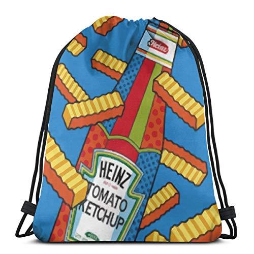 N/W Pommes Frites und Ketchup Unisex Sporttasche mit Kordelzug