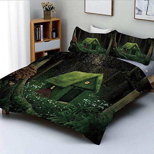 Juego de Funda nórdica, Surrealista Little Forest House en Moss Enchanted Woodland con diseño de Elfos Juego de Cama Decorativo de 3 Piezas con 2 Fundas de Almohada, Verde Militar y Verde Cazador, el