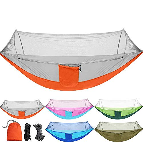 SB Home Portable Hammock Outdoor Double Camping Hammock with Mosquito Net Strength Parachute Fabric Hanging Anti-Mosquito and Insect-Proof Bed Swing Orange