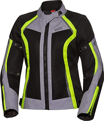IXS Sport Andorra-Air - Chaqueta de moto para mujer, color negro, gris y neón, talla XXL