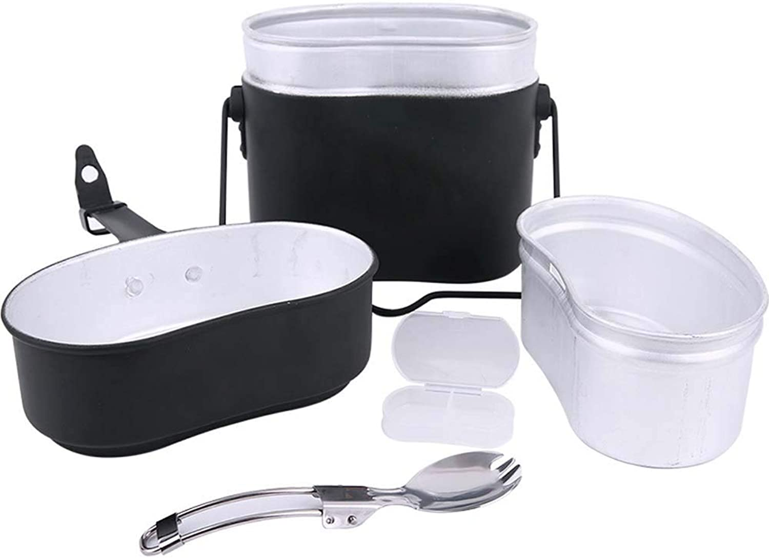 Aluminum Camping Lunch Box Kettle Portable Lunch Box Soldier Outdoor Camping Camping Hiking with Simple Tableware