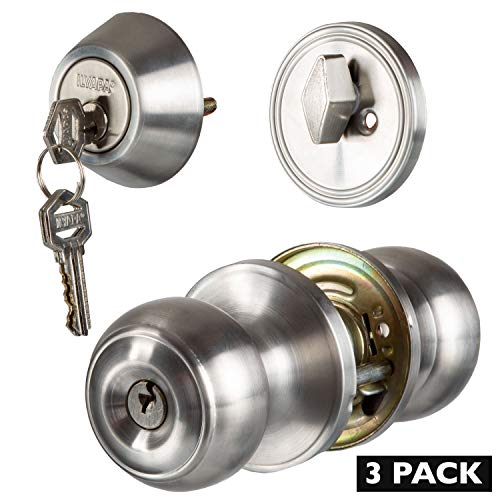 Entry Knob Lockset with Single Cylinder Deadbolt Combo Set - Classic Design - Improved Satin Nickel Finish - (3 Pack)