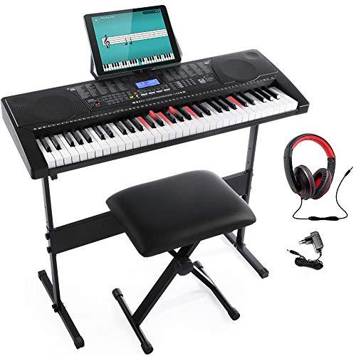 Bakaji Tastiera Musicale Pianola Elettronica 61 Tasti Luminosi Pianoforte Multifunzione con Supporto Sgabello e Cuffie 255 Ritmi50 Brani Ingresso AUX e Leggio per Smartphone/Tablet